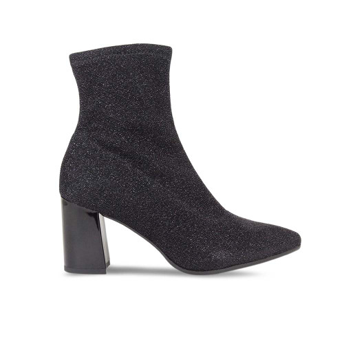 Black Metallic Glitter Ankle Boot