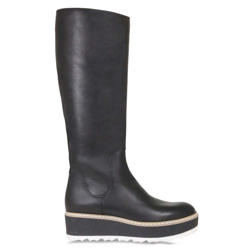 Black Leather Knee High Flat Boot