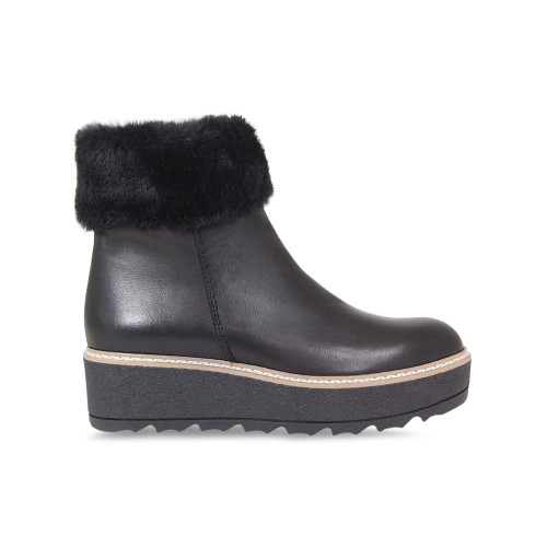 Black Leather & Faux Fur Ankle Boot
