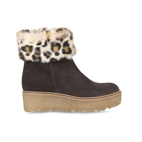 Brown Suede & Faux Fur Ankle Boot