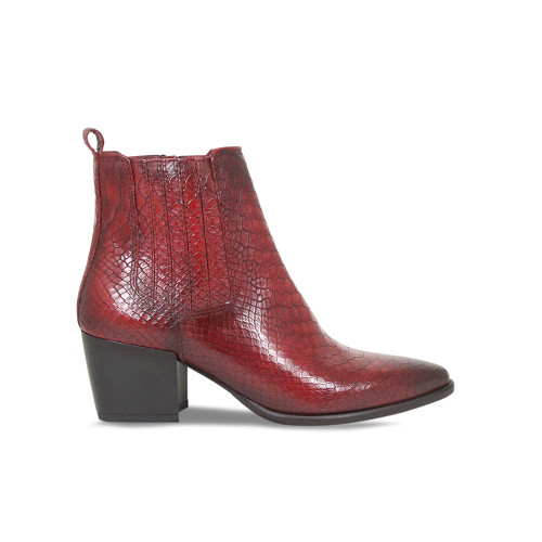 Red Croc Heeled Ankle Boot