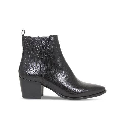 Black Croc Heeled Ankle Boot