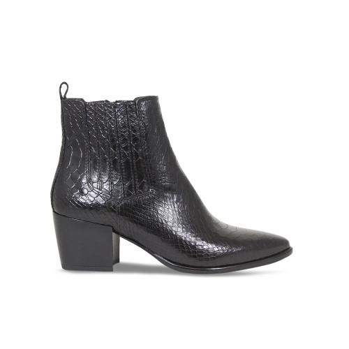 Black Croc Heeled Ankle Boot