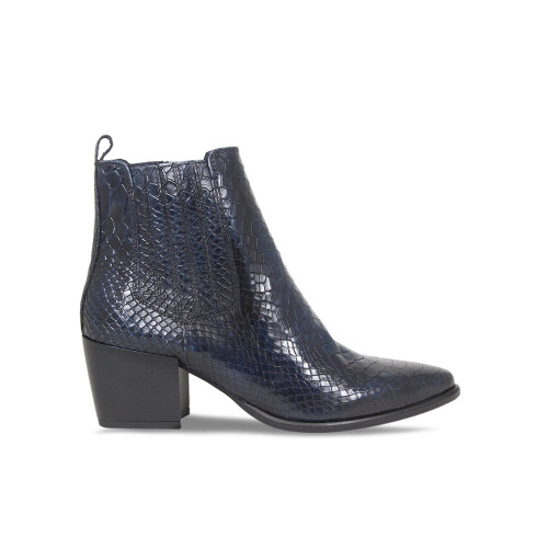 Navy Croc Heeled Ankle Boot