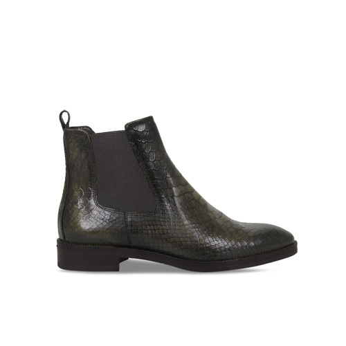 Ladies Dark Green Croc Ankle Boot