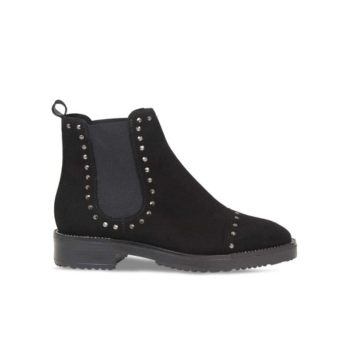 Studded Black Flat Ankle Boot