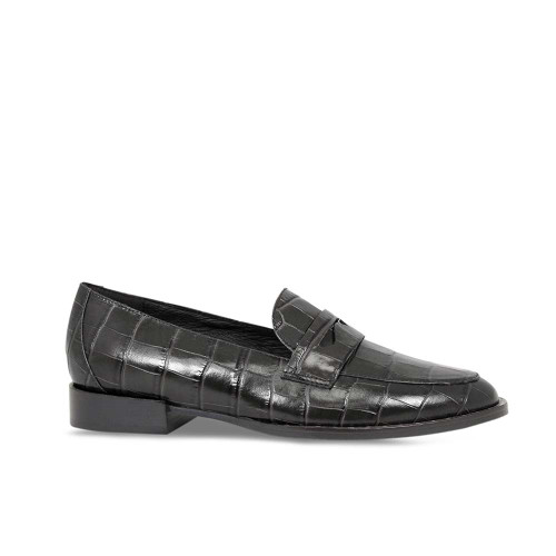 Women's Smart Black Croc Loafer