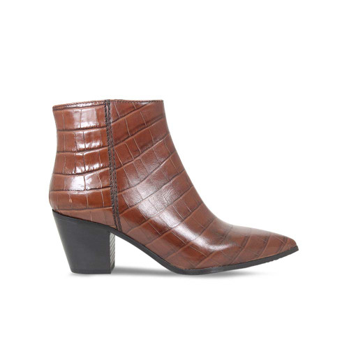 Tan Croc Leather Block Heel Ankle Boot