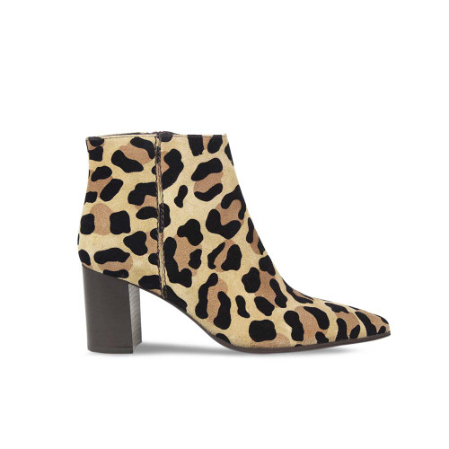 Leopard Print Block Heeled Ankle Boot