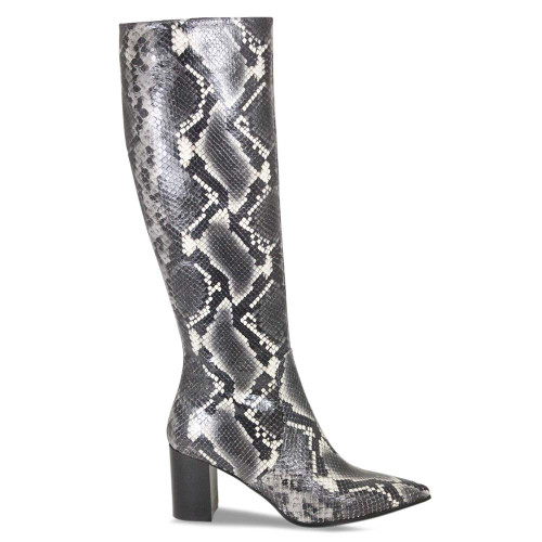 Grey Python Long Knee High Boot