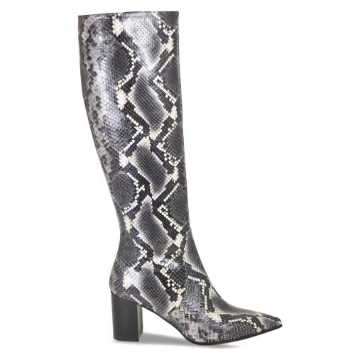 Grey Python Long Knee High Boot