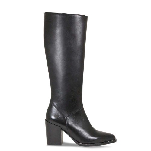 Black Leather Knee High Boot