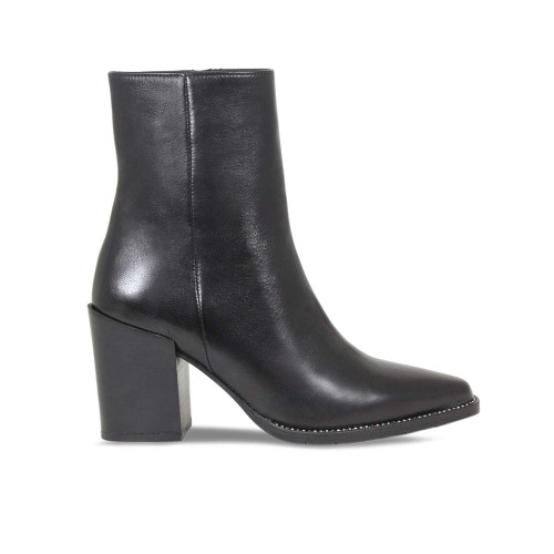 Black Leather Heeled Ankle Boot