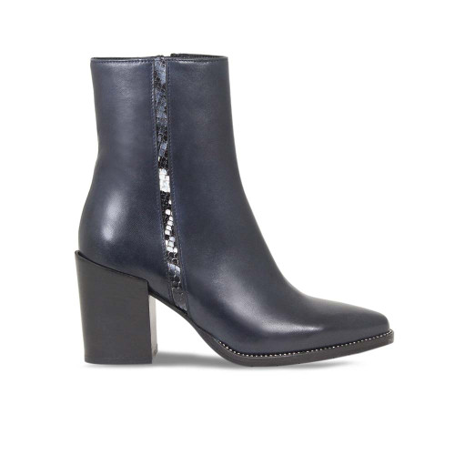 Navy Leather Heeled Ankle Boot