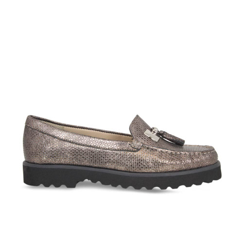 Bronze Metallic Lizard Loafer