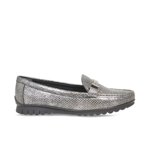 Pewter Metallic Lizard Loafer