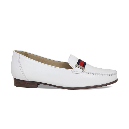 Sprint: White Leather + Navy/Red Band