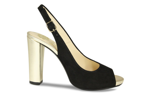 Lucy: Black Suede & Gold