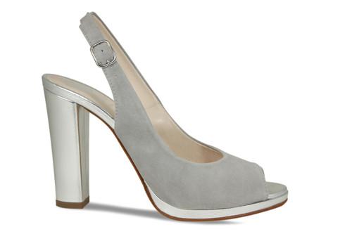 Lucinda: Pale Grey Suede / Silver
