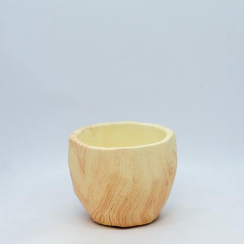 """3"""" Wood Carved Cement Planter"""