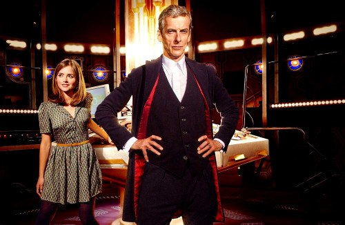 Doctor Who: 17 x 11 Inch Print - The 12th Doctor (Peter Capaldi) with Clara (Jenna Coleman) in the TARDIS