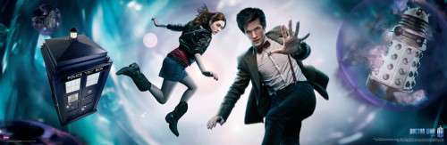 "Doctor Who: 11th Doctor & Amy Pond  in the Vortex Slim Style Poster - 36"" x 11.75"