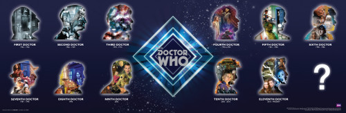 "Doctor Who: 11 Doctors Faces Silhouettes Slim Style Poster - 11.75"" X 36"""