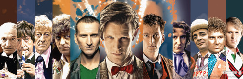 "Doctor Who: 11 Doctors Collage (50th Anniversary) Slim Style Poster - 11.75"" X 36"""