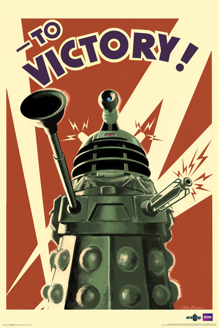 """Doctor Who: DALEKS TO VICTORY WWII Propaganda Poster - 24"""" X 36"""""""