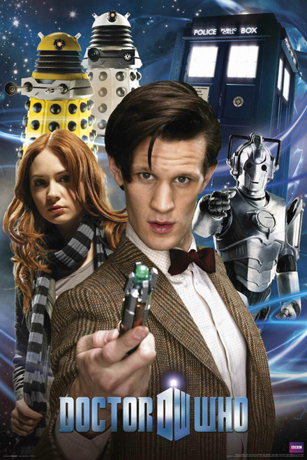 "Doctor Who: 11th Doctor, Amy, Daleks, Cybermen, and The TARDIS Poster - 24"" X 36"""