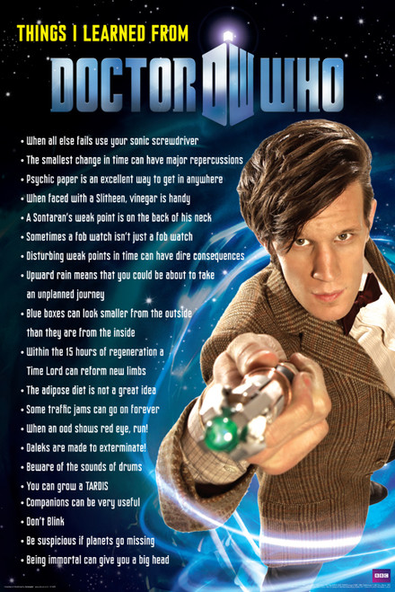 """Things I Learned from Doctor Who Poster - 24"""" X 36"""""""
