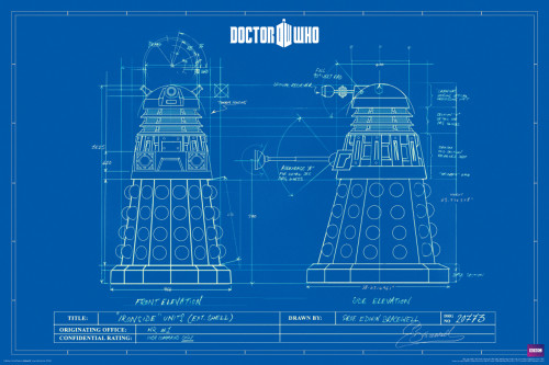 "Doctor Who: DALEK BLUE PRINTS Poster - 24"" X 36"""