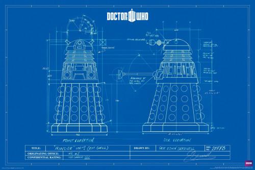 "Doctor Who: DALEK BLUE PRINTS Poster - 24"" X 36"""