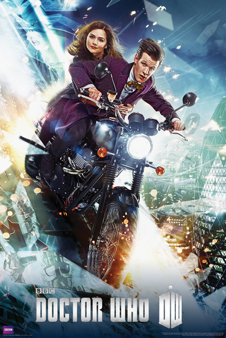 """The 11th Doctor and Clara On a Bike Poster 24"""" X 36"""""""