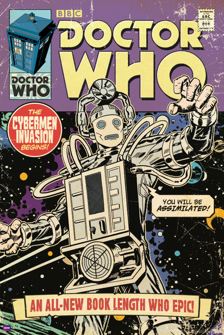 """Doctor Who: CYBERMEN INVASION Comic Cover Poster - 24"""" X 36"""""""