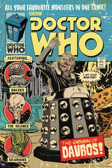 "Doctor Who: ORIGIN OF DAVROS Comic Cover Poster - 24"" X 36"""