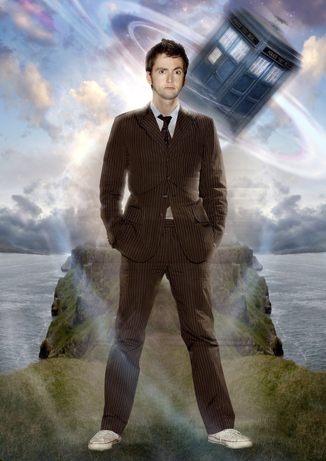 Doctor Who: 17 x 11 Inch Print - 10th Doctor (David Tennat) and TARDIS