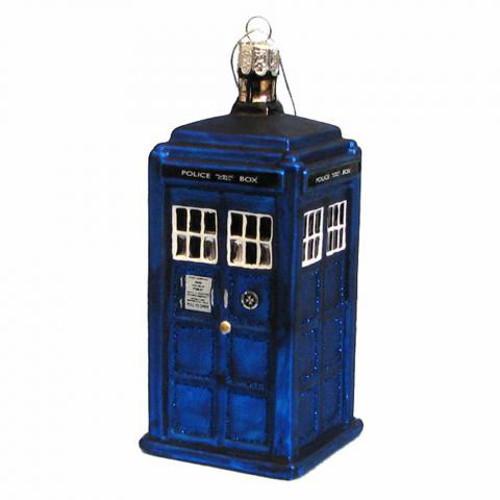 TARDIS  Glass Christmas Ornament by Kurt Adler