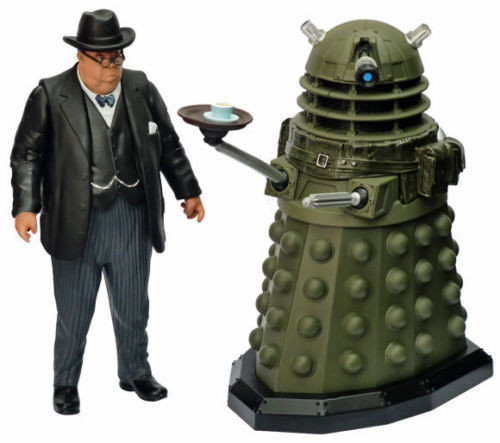 Doctor Who: VICTORY OF THE DALEKS - Action Figure Set - SDCC 2012 Exclusive (Ironside Dalek serving Tea and Winston Churchill)