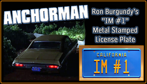 "ANCHORMAN 2 - ""IM #1"" - Prop Replica Metal Stamped License Plate"