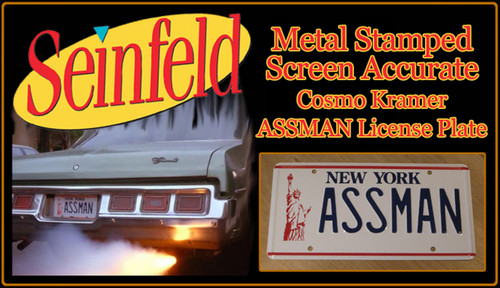"SEINFELD - ""ASSMAN"" - Prop Replica Metal Stamped License Plate"