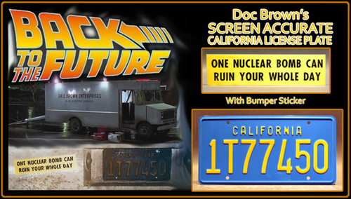 "License Plate - BACK to the FUTURE - ""1T77450"" (Doc Brown)"