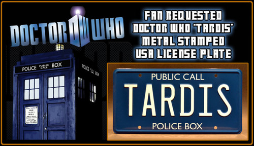 "DOCTOR WHO - ""TARDIS"" - Full Size Metal Stamped License Plate"