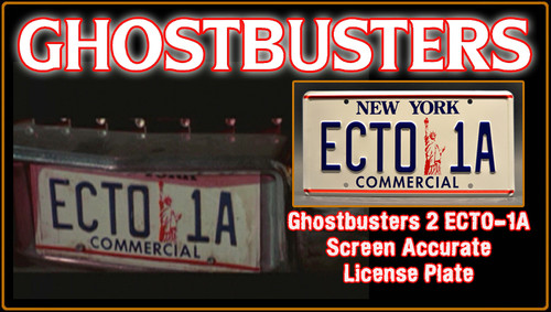 "GHOSTBUSTERS- ""ECTO 1A"" - Prop Replica Metal Stamped License Plate"