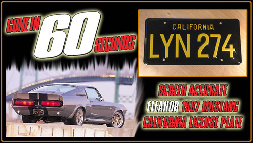 "License Plate - GONE in 60 SECONDS - ""LYN 274"""