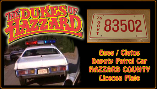 """The DUKES of HAZZARD - """"83502"""" - Prop Replica Metal Stamped License Plate"""