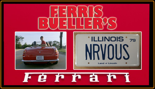"FERRIS BUELLER'S DAY OFF - ""NRVOUS"" - Movie Prop Replica Metal Stamped License Plate"