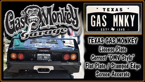 """GAS MONKEY GARAGE - """"GAS MNKY"""" - Prop Replica Metal Stamped License Plate"""