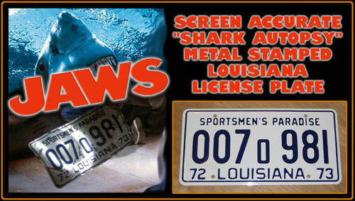 "JAWS (1970s Movie) - ""Shark Autopsy"" - Prop Replica Metal Stamped License Plate"
