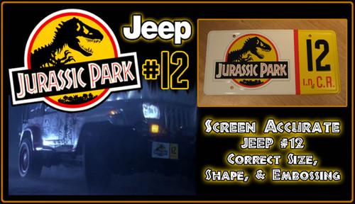 JURASSIC PARK - Jeep 12 - Prop Replica Metal Stamped License Plate